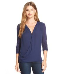 Halogen - Blue Faux Wrap Woven And Knit Top - Lyst