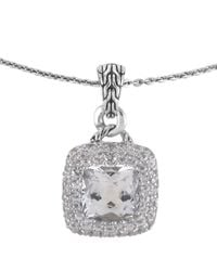 John Hardy | White Topaz Square Pendant Necklace | Lyst