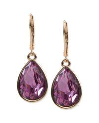Nine West | Purple Goldtone Light Plum Stone Teardrop Earrings | Lyst