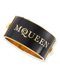 Alexander McQueen | Black Large Logo Enamel Cuff | Lyst