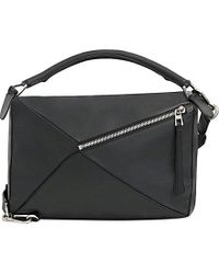 Loewe | Black Puzzle Leather Shoulder Bag Large | Lyst