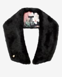 Ted Baker - Black Avril Colour Block Faux Fur Scarf - Lyst