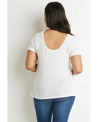 Forever 21 | White Cutout-back Cuffed Tee | Lyst