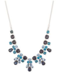 Nine West | Silver-tone Blue Crystal Drama Necklace | Lyst
