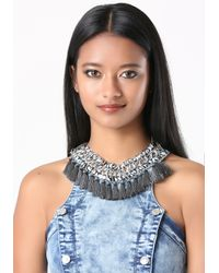 Bebe | Blue Tassel Fringe Necklace | Lyst