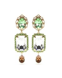 Dolce & Gabbana - Green Embellished Clip-On Earrings - Lyst