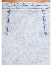 Glamorous - Blue Acid Wash Denim Midi Skirt - Lyst