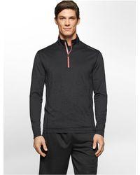 Calvin Klein | Black White Label Performance Tonal Mesh Logo Jacquard 1/4 Zip Jacket | Lyst
