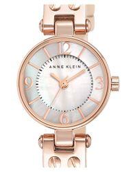 Anne Klein - Metallic Round Leather Strap Watch - Lyst