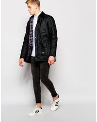 Brixtol - Black Waxed Jacket With Cord Collar for Men - Lyst