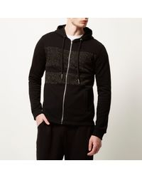 River Island - Black Systvm Panel Zip Hoodie for Men - Lyst