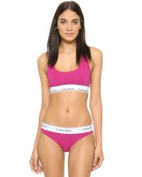 Calvin Klein | Pink Modern Cotton Bralette - Black Foil | Lyst