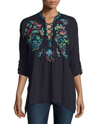 Johnny Was | Black Yang Lace-up Embroidered Blouse | Lyst