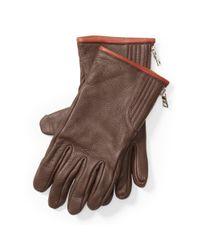 Polo Ralph Lauren | Brown Quilted Deerskin Zip Gloves for Men | Lyst