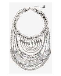 Express - Metallic Layered Coin And Chain Bib Necklace - Lyst