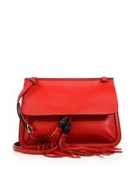 Gucci | Red Bamboo Daily Leather Flap Shoulder Bag | Lyst