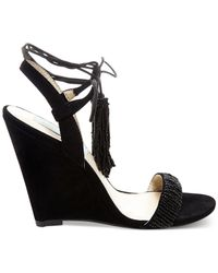 Betsey Johnson | Black Blue By Faye Tassel-tie Wedges | Lyst