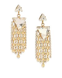 DANNIJO - Metallic Candice Crystal & Chain Tassel Drop Earrings - Lyst