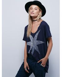Free People | Blue We The Free Vintage V Tee | Lyst