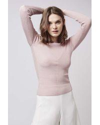 TOPSHOP - Pink Skinny Rib Top - Lyst