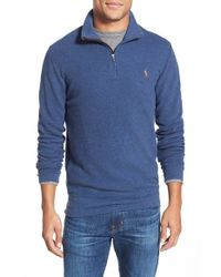 Polo Ralph Lauren | Blue Pique Pima Cotton Quarter Zip Pullover for Men | Lyst