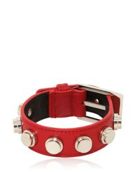 Saint Laurent | Red Studded Leather Small Cuff Bracelet | Lyst