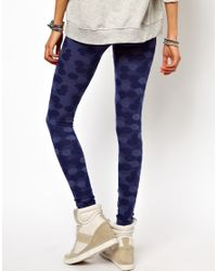 ASOS | Blue Leggings in Denim Spot Effect | Lyst