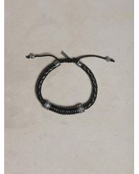 John Varvatos | Braided Black Leather Bracelet for Men | Lyst