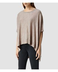 AllSaints - Natural Arple Cape - Lyst