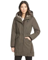 Vince Camuto | Brown Faux Fur Trim Cotton Parka | Lyst