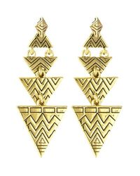 House of Harlow 1960 - Metallic Pave Tribal Triangle Earrings - Lyst