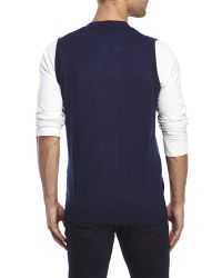 Belford | Blue Merino Wool Sweater Vest for Men | Lyst
