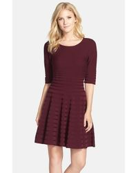 Ivanka Trump | Purple Fit & Flare Sweater Dress | Lyst