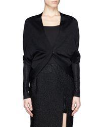 Lanvin - Black Lurex Knit Shawl Cardigan - Lyst
