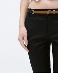 Zara | Black Double Cloth Trousers | Lyst