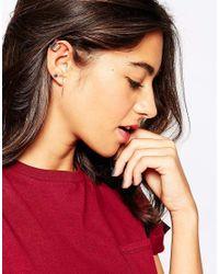 Pieces - Metallic Vienna Stud & Cuff Earrings - Lyst