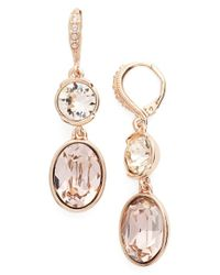 Givenchy - Pink Double Drop Crystal Earrings - Lyst