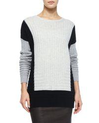 Vince - Black Colorblock Crewneck Sweater - Lyst