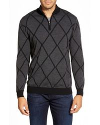 Bugatchi | Gray Quarter Zip Merino Wool Sweater for Men | Lyst