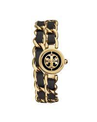 Tory Burch - Metallic Reva Mini Chain Double-wrap Watch, Black Leather/gold-tone, 20.5 Mm - Lyst