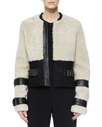 A.L.C. - White Stager Long-sleeve Fur Jacket W/leather Trim - Lyst