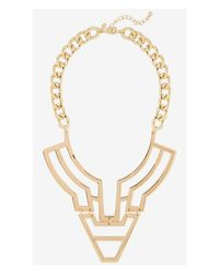 Express - Metallic Polished Geo Bib Necklace - Lyst