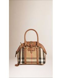 21943489e7ae Burberry Small House Check And Leather Bowling Bag in Brown - Lyst