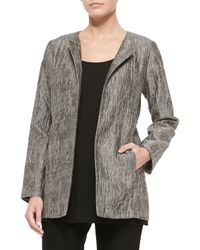 Eileen Fisher - Gray Crinkle Jacquard Long Jacket - Lyst