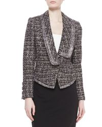 Badgley Mischka - Gray Tweed Combo Jacket - Lyst