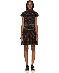 KENZO - Red Black And Pink Jacquard Knit Dress - Lyst