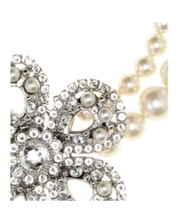 Miu Miu | Natural Pearl Necklace with Crystalembellished Flower | Lyst