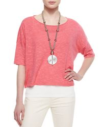 Eileen Fisher - Pink 3/4-sleeve Linen-blend Short Box Top - Lyst