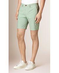 Burberry | Green Cotton Poplin Chino Shorts for Men | Lyst