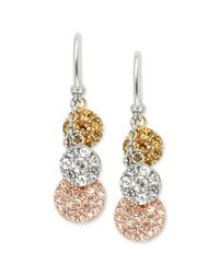 Fossil | Pink Tritone Pave Disc Triple Drop Earrings | Lyst